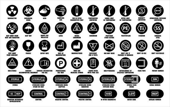 Full set of medical device packaging symbols with warning information. Medicine package black round icons isolated on white. International standards ISO, ANSI, AAMI, FDA with description