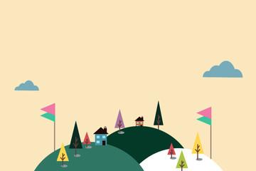Poster Castle pastel garden blackground