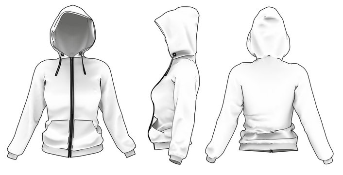 Views of Woman's Hoodie. Drawing Style 3D MockUp of Sport Sweater with Hood and Zip.