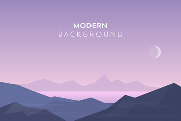 Stores à enrouleur Lilas Mountain lake, Sunset, night, morning in desert, mountains, Abstract landscape, Vector banner with polygonal landscape illustration, Minimalist style
