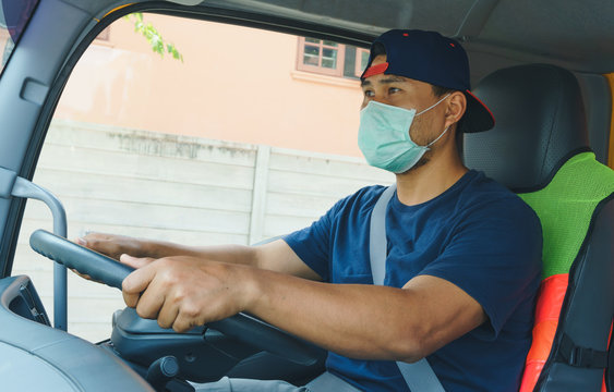 truck driver wearing a mask
