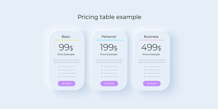 Price table concept in realistic neuromorphism vector design. Pricing or subscription plan ui web elements. Website marketing or promotion interface template. Product comparison table.