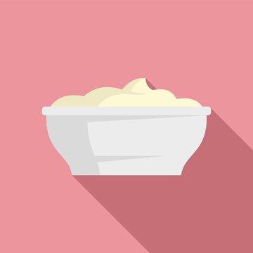 Mayonnaise bowl icon. Flat illustration of mayonnaise bowl vector icon for web design