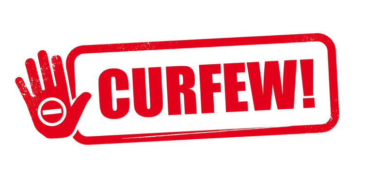 curfew red rubber stamp vector