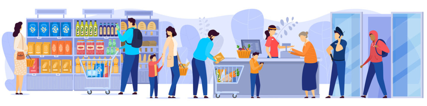 People in grocery store, line at cash desk, supermarket customers, vector illustration. Men and women buying groceries in shop. Customers cartoon characters, scene from grocery store or supermarket