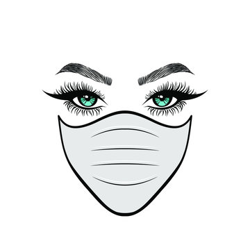 Woman in white protect medical face mask. Novel Coronavirus (2019-nCoV). Concept of coronavirus quarantine. Vector illustration.