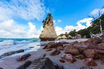 Printed roller blinds Cathedral Cove Low tide in Cathedral Cove