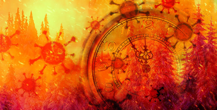 Coronavirus. Clock showing five minutes to twelve. Time to stop and realize the values of life. 2019-ncov
