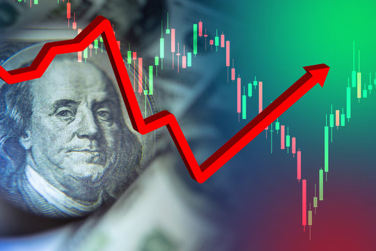 Rebound. Financial sector. Temporary recovery after the crisis. Franklin portrait as a symbol of the finance exchange. Several graphs show the beginning of growth. Rebound after the collapse. Trading