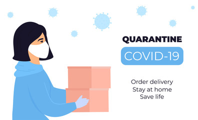 COVID-19. Quarantine. Coronavirus epidemic. A girl courier in a protective medical mask holds parcels in her hands. Free shipping. Stay home Wall mural