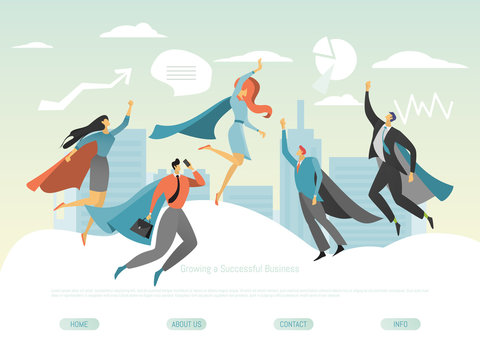 Superhero business people, successful men and women flying above city, website concept, vector illustration. Flat cartoon characters, team of managers, leaders and entrepreneurs, career achievement