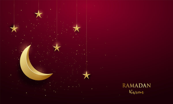 Shiny golden crescent and shiny stars on dark red background or the occasion of Muslim celebrate Ramadan Kareem. Vector greeting banner.