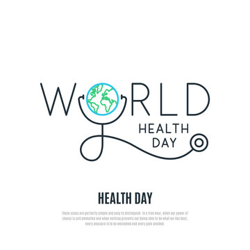 World Health Day vector banner. Health care concept design. Healt day emblem. Stock vector illustration for web, mobile apps and print products.