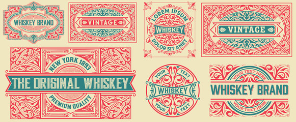 Set of 7 vintage cards. Vector layered Wall mural