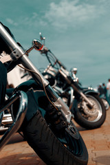 Classic motorcycle background. Motorcycle details close up