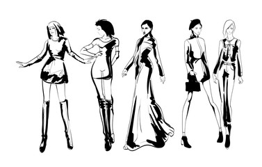 Wall Mural - Beautiful young women in modern style.. Hand drawn stylish woman portrait. Fashion lady. Festive outfit. Sketch. Fashion model posing in dress. Hand drawn fashion woman.