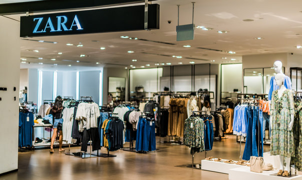Front entrance to Zara store in Singapore shopping mall