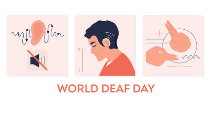 Young deaf man with hearing aid. Hearing disability concept. Sign