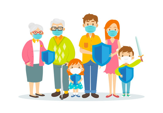 Family wearing surgical masks and holding protection shield isolated on white background, vector illustration