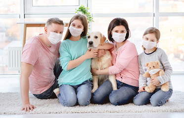 Beautiful family in medical masks
