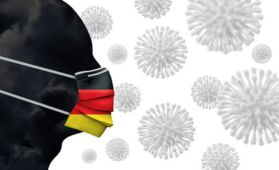 Germany coronavirus outbreak. Face with protective mask. 3D Render Wall mural