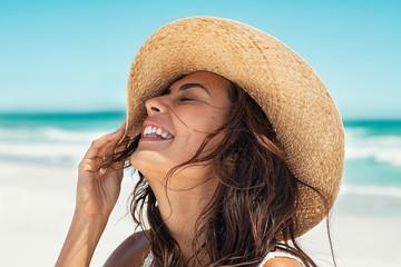 Carefree girl have fun at beach