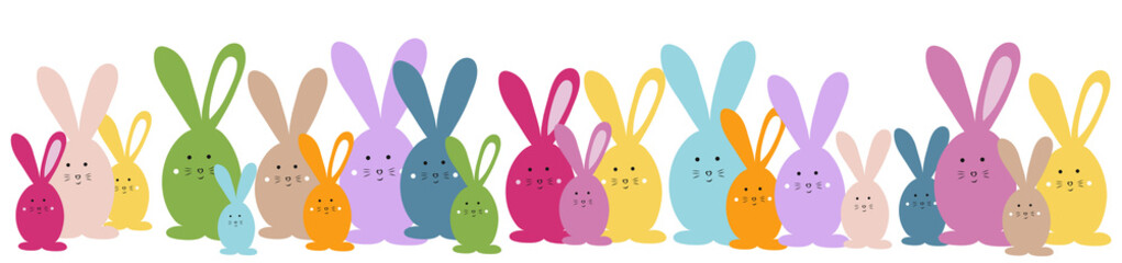 Easter banner. Easter bunny family vector illustration bright and colorful element for design Wall mural