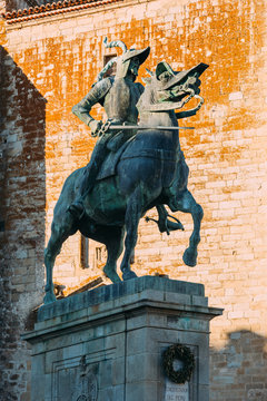 Equestrian statue of Francisco Pizarro in Plaza Mayor of Trujillo, Spain
