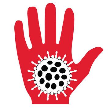 coronavirus logo with hand 2020-nCoV covid-19 corona virus vector, eps, svg.