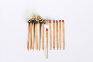 Burning matchsticks for social distancing concept to slow down the spread of COVID-19.