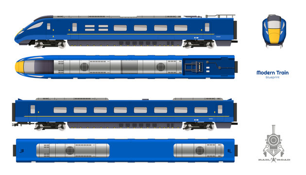 Isolated blueprint of blue modern train. Side, top and front views. Realistic 3d locomotive. Railway vehicle. Railroad pessenger transport