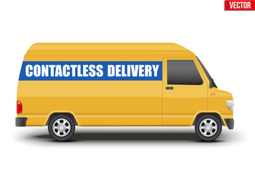 Contactless delivery curier transport. Yellow van with Contactless delivery tag. Vector illustration Isolated on white background.