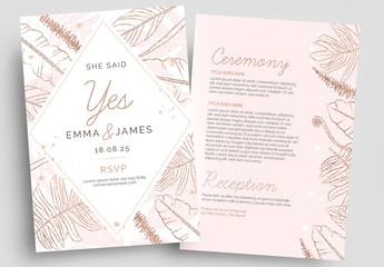 Rose Gold Wedding Flyer Layout with Foliage Illustrations