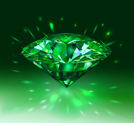 Beautiful green gem emerald on light green background. Vector illustration.