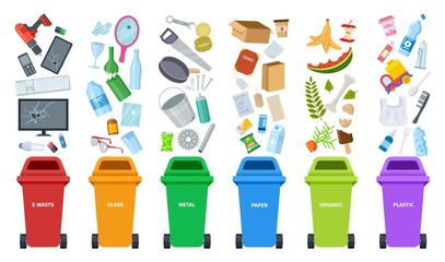 Waste bins. Flat recycling containers, bin sorting trashes. Recyclable glass paper plastic. Types baskets and garbage vector illustration. Container basket, waste garbage, trash plastic and organic
