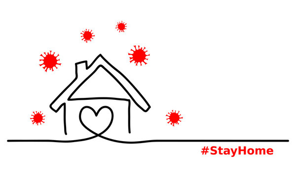 Stay home simple, minimalist black ,red, white web banner,illustration with home and virus. One continuous line drawing. Stay home hashtag.