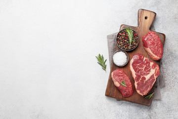 Wall Mural - Variety of fresh raw beef steaks