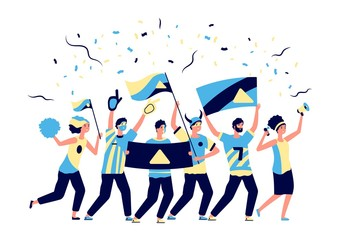 Sport fans. Adults football lovers, cheering with soccer team. Men women, fanatic crowd with flags. Active team support vector illustration. Football fan soccer, cheering shouting, cheer championship