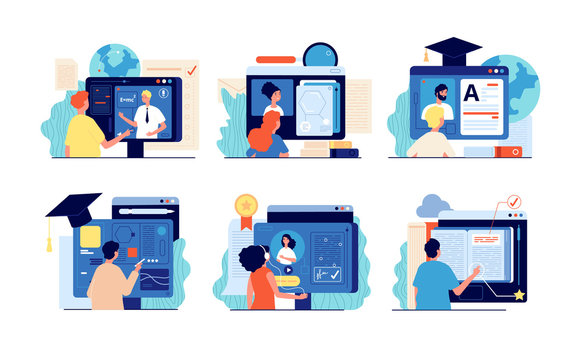 Distance school. Internet education, online training and course. Computer presentation, university video. People testing website vector set. Illustration education distance university e-learning