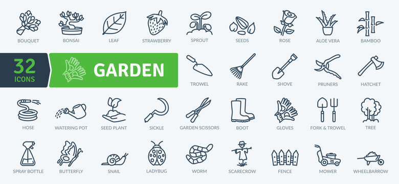Garden Icons Pack. Thin line icons set. Flaticon collection set. Simple vector icons