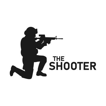 Military soldier aiming weapon silhouette. Sniper training icon. Shooter with gun sign. Assault rifle shooting symbol. Marine troops concept. SWAT Police. Navy or marine forces. Vector illustration.
