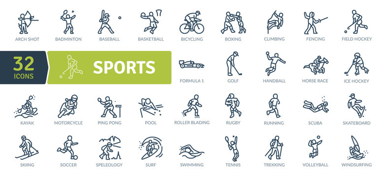 Sports Icons Pack. Thin line icons set. Flaticon collection set. Simple vector icons