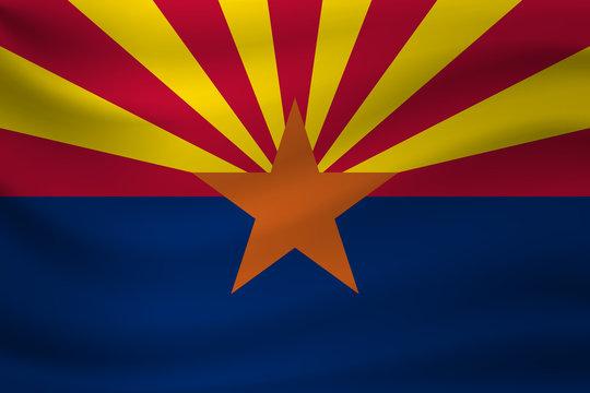 Waving flag of Arizona. Vector illustration