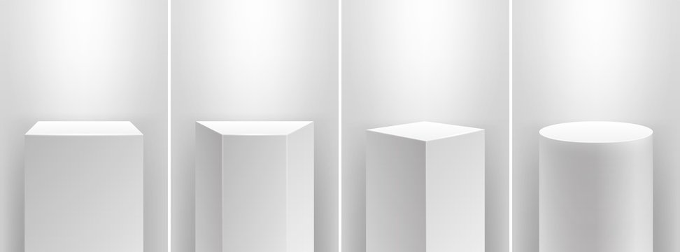 Museum stage. Realistic cubes podium, 3d exhibit displays. Gallery geometric blank product stands. Spotlight illuminates pedestal vector set. Realistic podium museum, blank pedestal box illustration