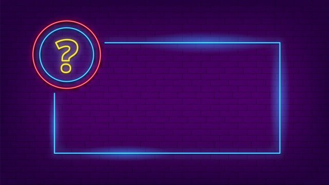 Neon quiz sign. Glow question mark and lighting frame. Party led banner template. Blue web badge vector illustration. Quiz neon mark, answer question banner