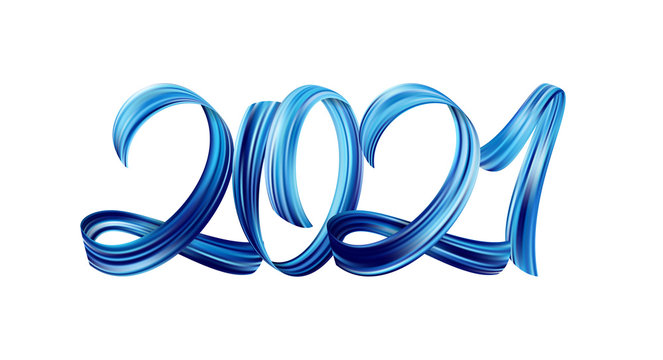 Blue Brushstroke acrylic paint lettering calligraphy of 2021 on white background. Happy New Year
