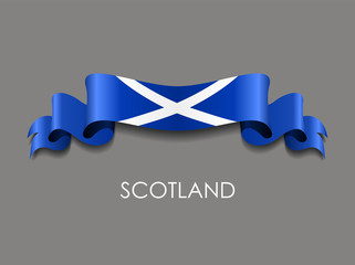 Scottish flag wavy ribbon background. Vector illustration.