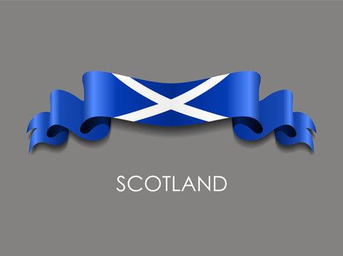 Scottish flag wavy ribbon background. Vector illustration.