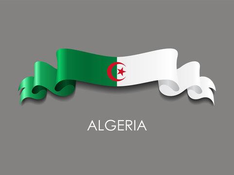 Algerian flag wavy ribbon background. Vector illustration.