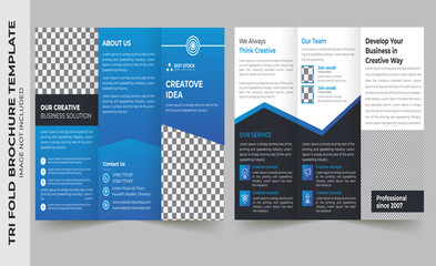 Business tri-fold brochure template design with a4 size layout with bleeds Free Vector